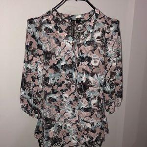 Petticoat Alley peplum 3/4 sleeve sheer blouse